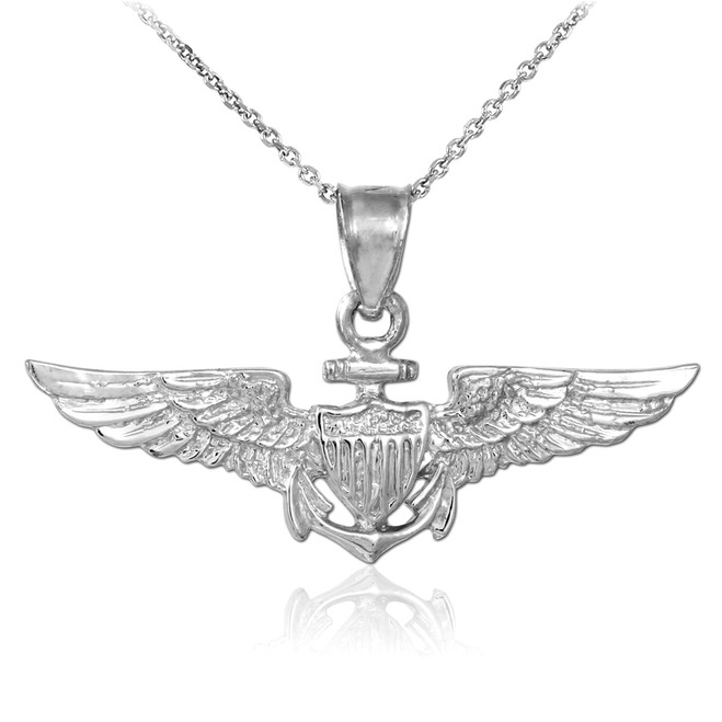 US Naval Aviator White Gold Pendant Necklace