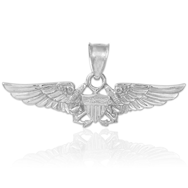 US Aviator Badge White Gold Pendant