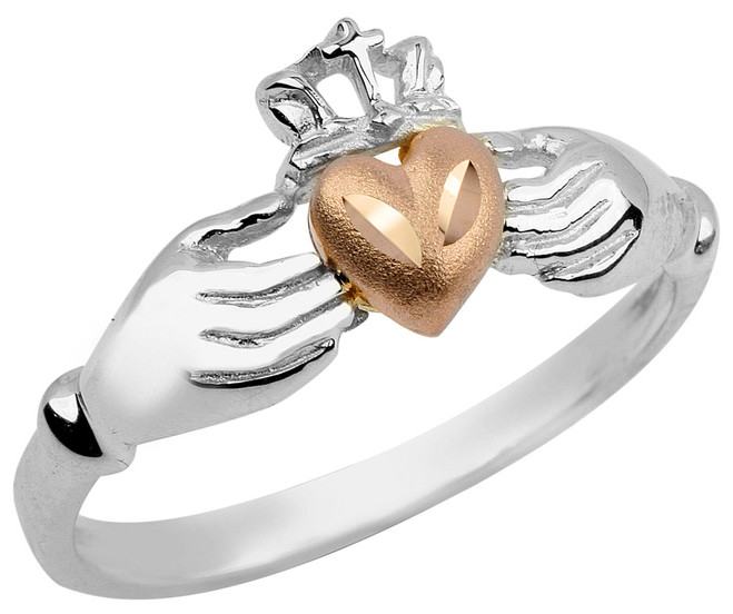 White Gold Irish Claddagh Ring