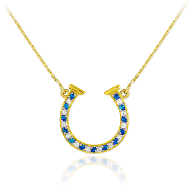 14K Gold Clear & Blue CZ Horseshoe Necklace