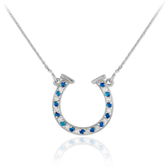 14K White Gold Diamond & Sapphire Horseshoe Necklace