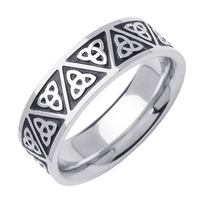 14k White Gold Celtic Trinity Knot Wedding Band (7 mm)