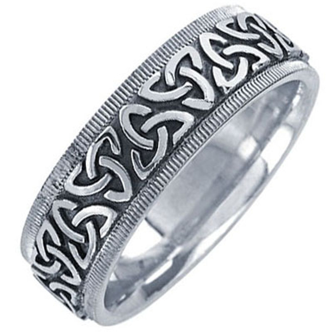 14k White Gold Trinity Knot Celtic Wedding Band (7 mm)