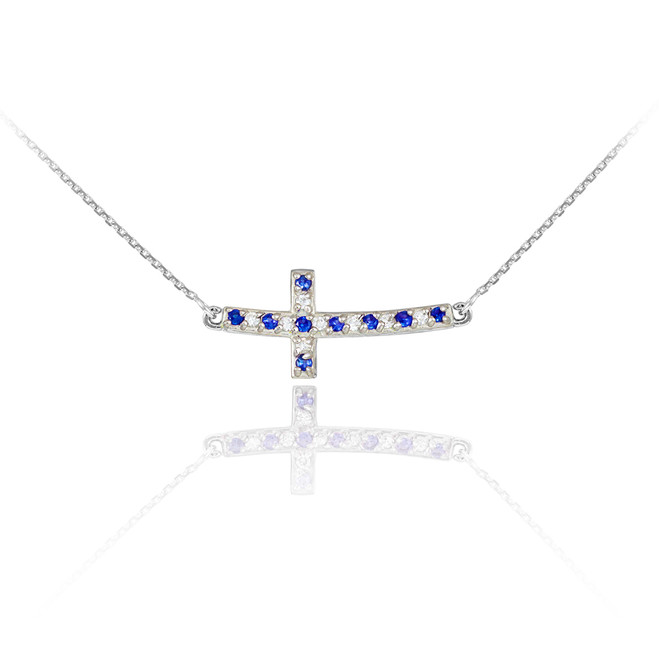 14K White Gold Cute Sideways Curved Cross Blue and Clear CZ Necklace