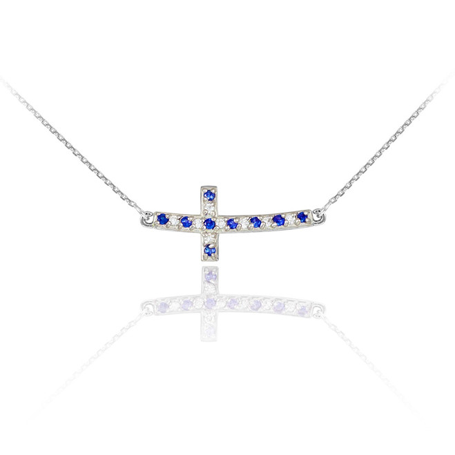Sterling Silver Cute Blue and Clear CZ Sideways Curved Cross Necklace