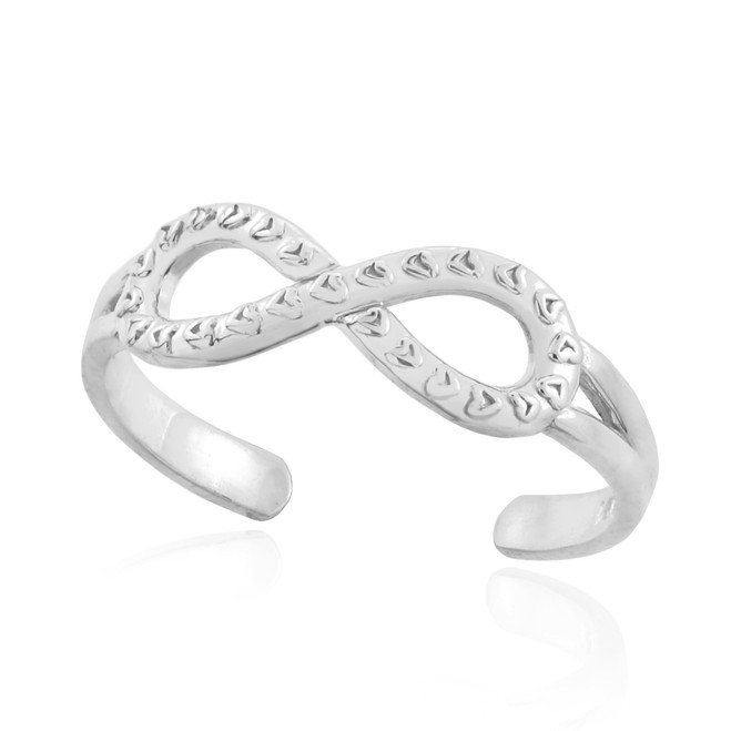 White Gold Infinity Toe Ring with Hearts Texture