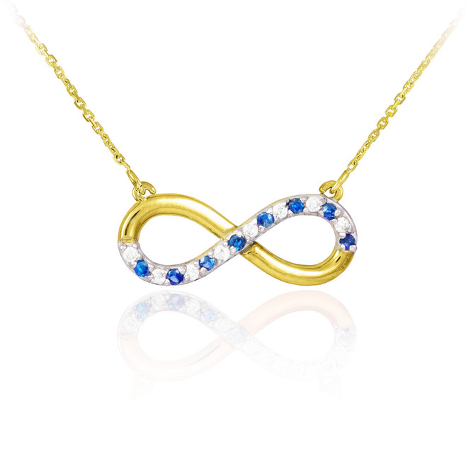 Infinity Pendant 14k Gold Clear & Blue CZ Accents Necklace
