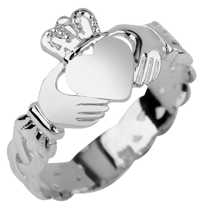Ladies White Gold Claddagh Ring with Trinity Band