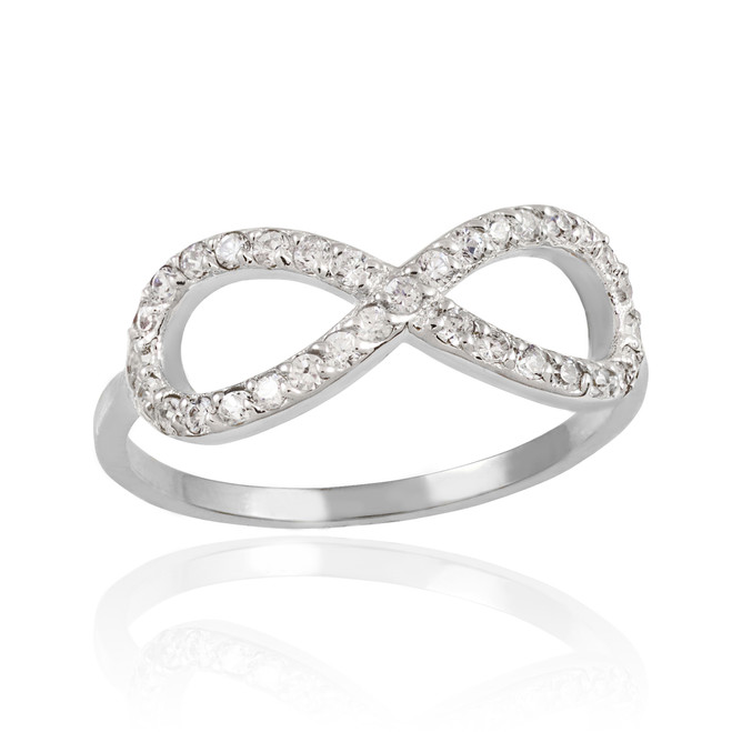 White Gold CZ Infinity Ring