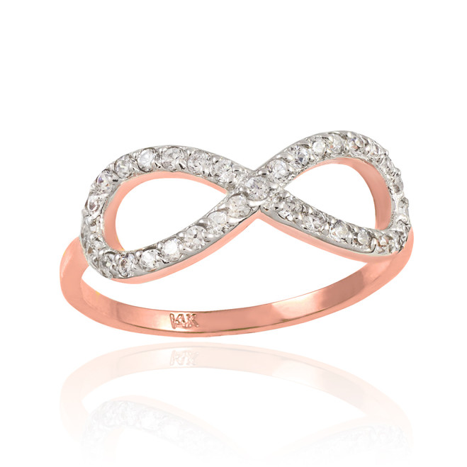 Rose Gold CZ Infinity Ring