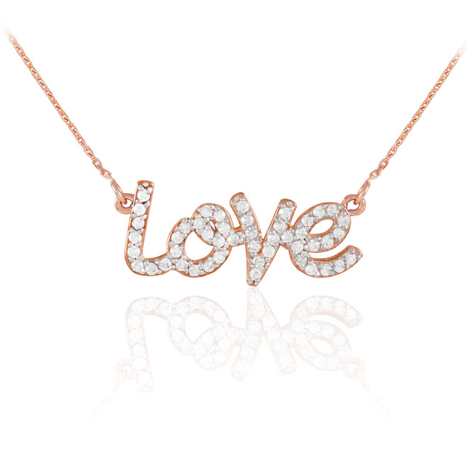 "14K Rose Gold ""Love"" Diamond Necklace"
