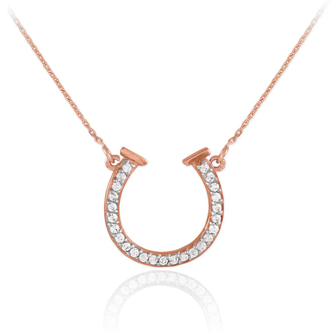 14K Rose Gold CZ Horseshoe Necklace
