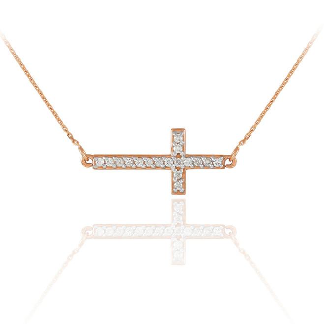 14K Rose Gold Diamond Sideways Cross Necklace