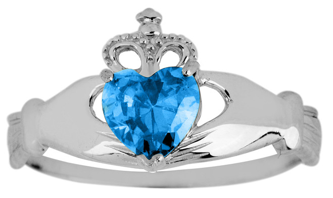 White Gold Birthstone Claddagh Ring Aquamarine