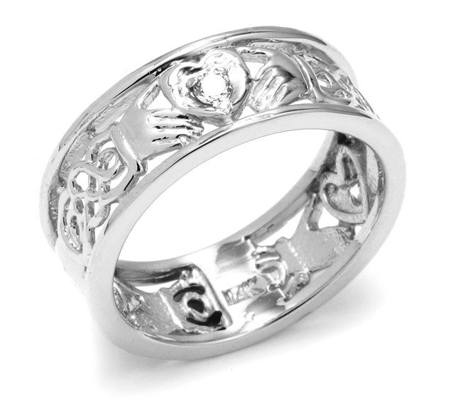 White Gold Diamond Claddagh Wedding Band with Celtic Knot