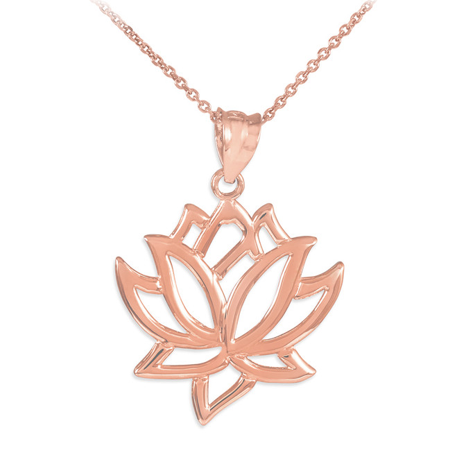 Lotus Flower Rose Gold  Pendant Necklace