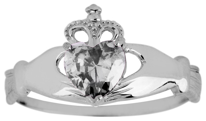 White Gold Birthstone Claddagh Ring Cubic Zirconia