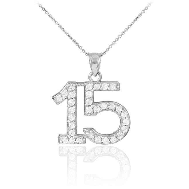 14K White Gold Quinceanera 15 Anos CZ Necklace Pendant