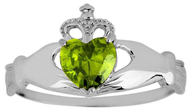 White Gold Birthstone Claddagh Ring Peridot