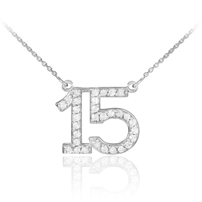 Silver Quinceanera 15 Anos CZ Necklace