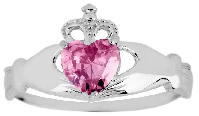 White Gold Claddagh Ring Pink Cubic Zirconia