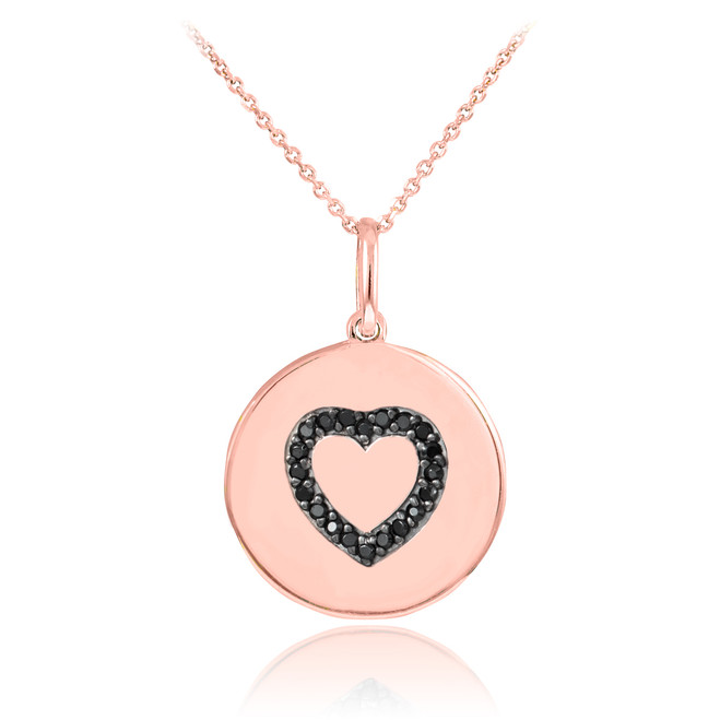 14K Rose Gold Heart Black Diamond Disc Pendant Necklace