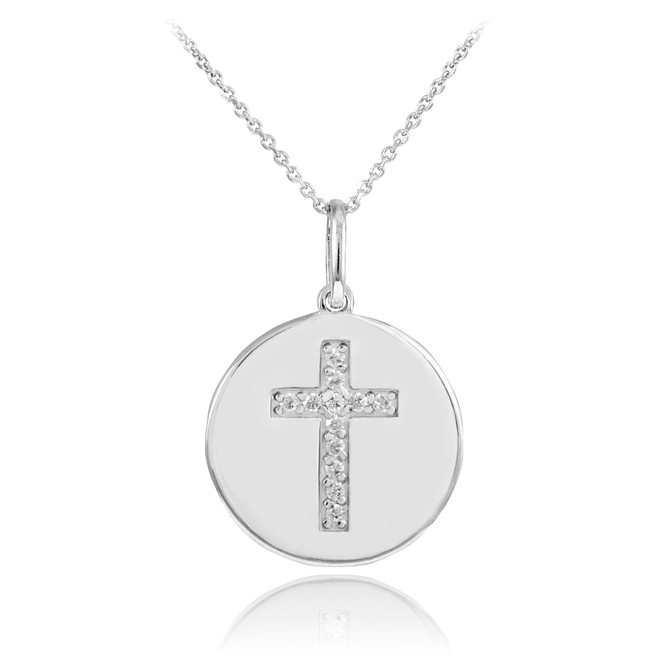 14K White Gold Cross Diamond Disc Pendant Necklace