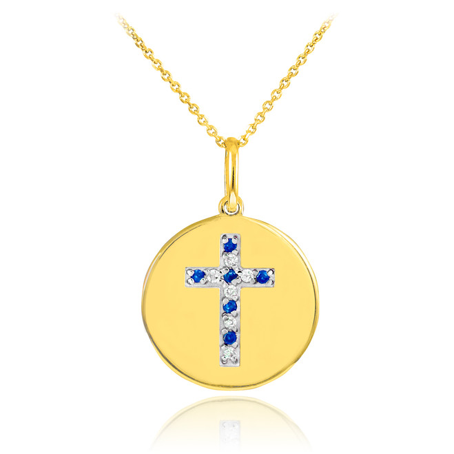14K Gold Cross Diamond and Sapphire Disc Pendant Necklace