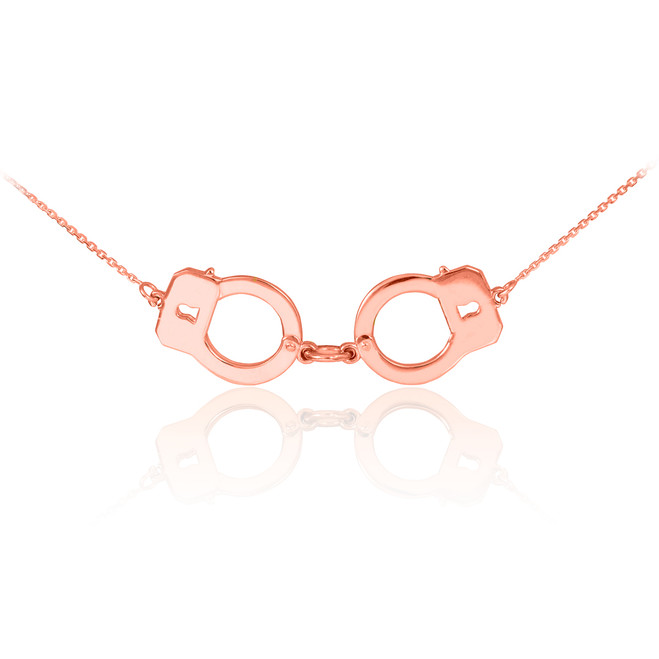 14k Rose Gold Handcuffs Necklace