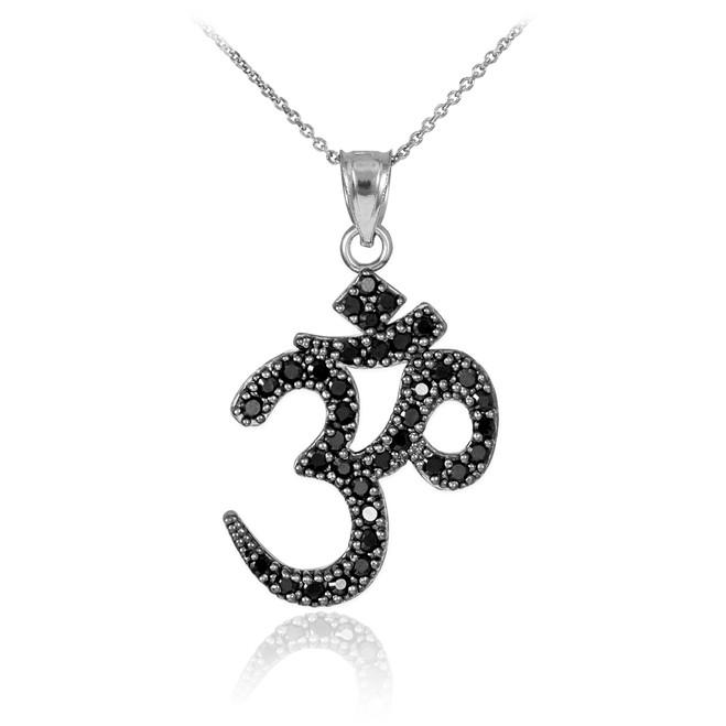 14k White Gold Om Black Diamond Pendant Necklace