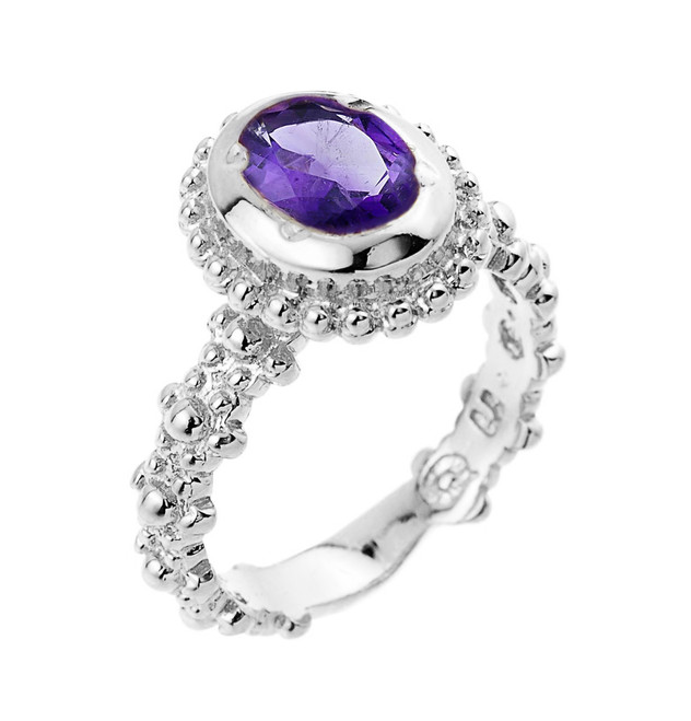 Sterling Silver  Amethyst February Birthstone Ladies Ring