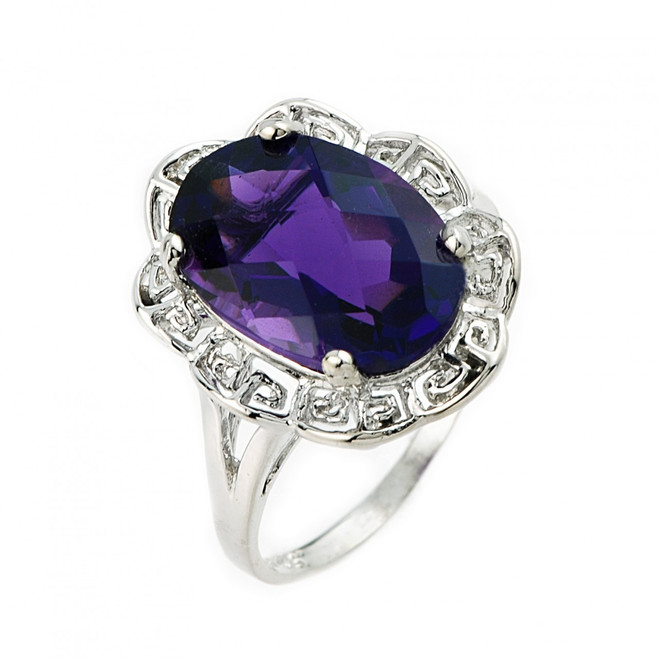 White Gold Greek Key Lab Created Amethyst Ring