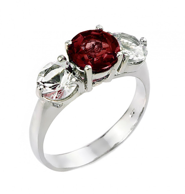 Sterling Silver Three Stone Garnet and White Topaz Gemstone Engagement Ring