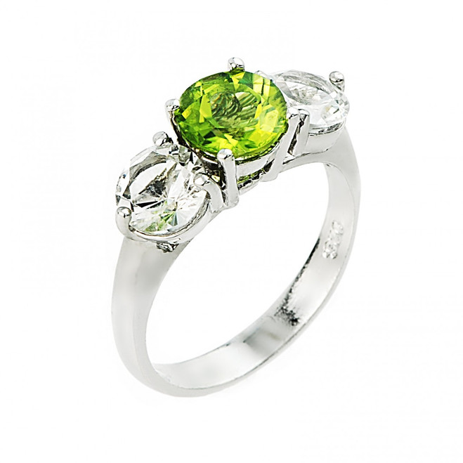 Peridot and white topaz gemstone ladies ring in 10k or 14k white gold.