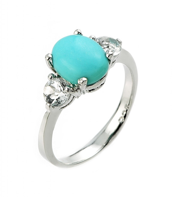 White Gold Turquoise and White Topaz Ring