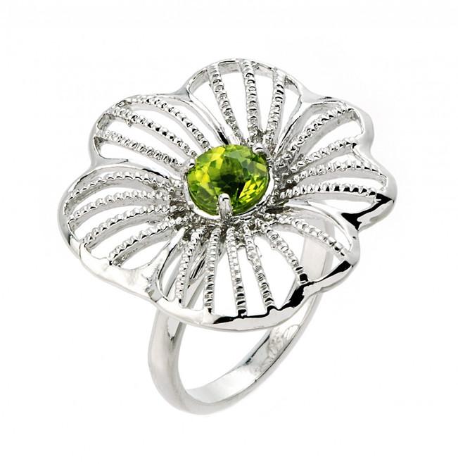Sterling Silver Peridot Flower Ring