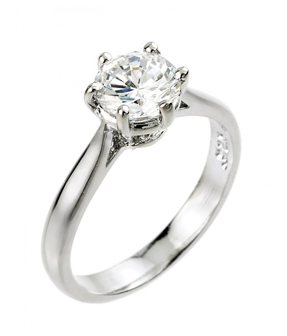 White Gold 2 ct CZ (8mm) Solitaire Engagement Ring