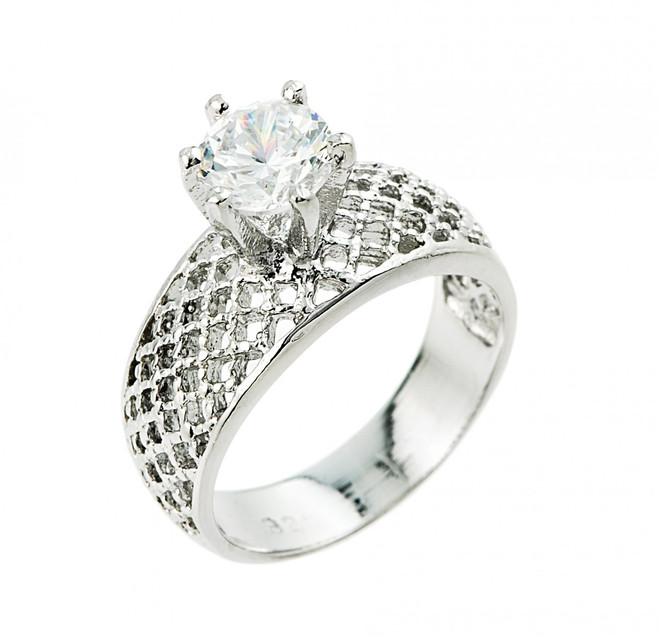 1 ct CZ (6 mm) fancy engagement ring in 925 sterling silver.
