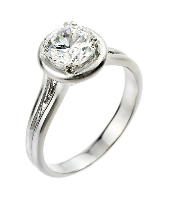 1 ct CZ (6 1/2 mm) round engagement ring in 925 sterling silver.