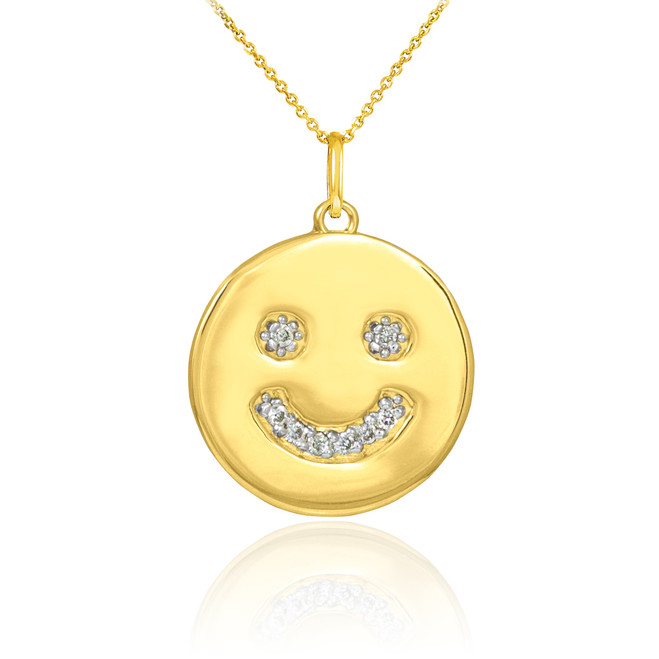14k Gold Smiley Face Diamond Pendant Necklace