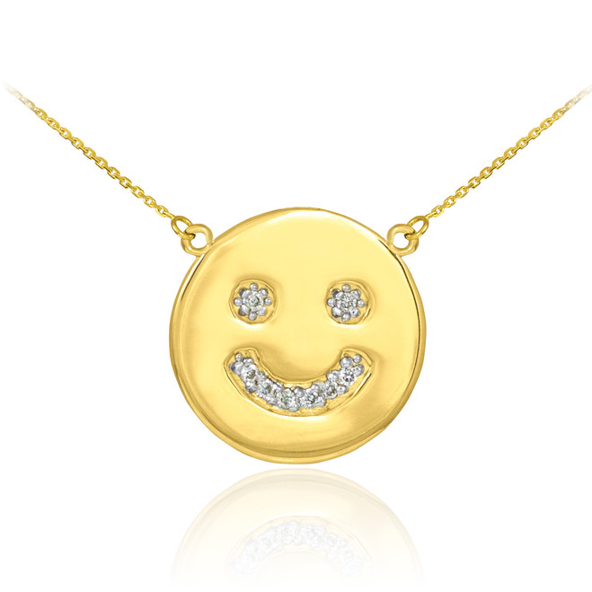 14k Gold Smiley Face Diamond Necklace