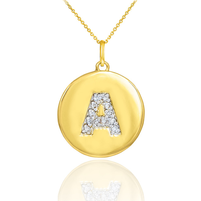 "Gold Letter ""A"" Initial Diamond Disc Pendant Necklace"