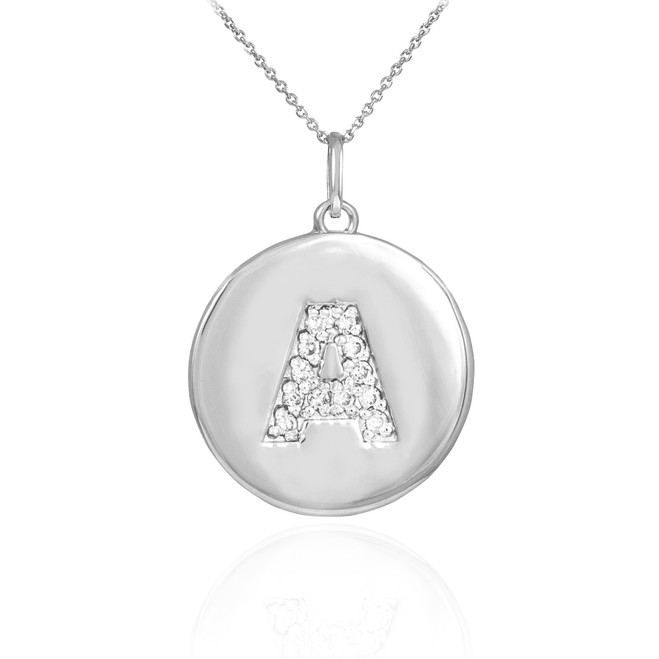 "White Gold Letter ""A"" Initial Diamond Disc Pendant Necklace"