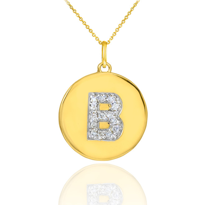 "Gold Letter ""B"" Initial Diamond Disc Pendant Necklace"