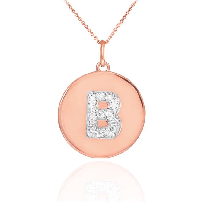 "14k Rose Gold Letter ""B"" Initial Diamond Disc Pendant Necklace"