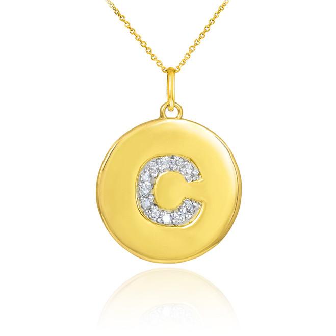 """Gold Letter """"C"""" Initial Diamond Disc Pendant Necklace"""