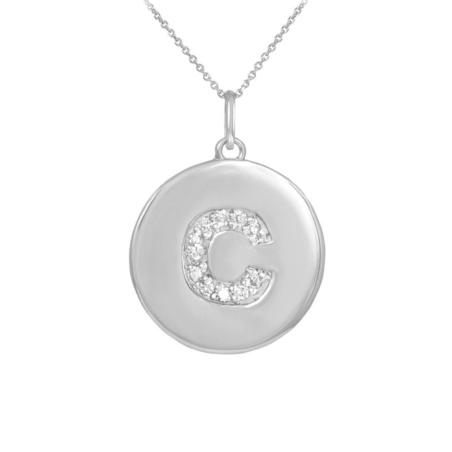 "White Gold Letter ""C"" Initial Diamond Disc Pendant Necklace"