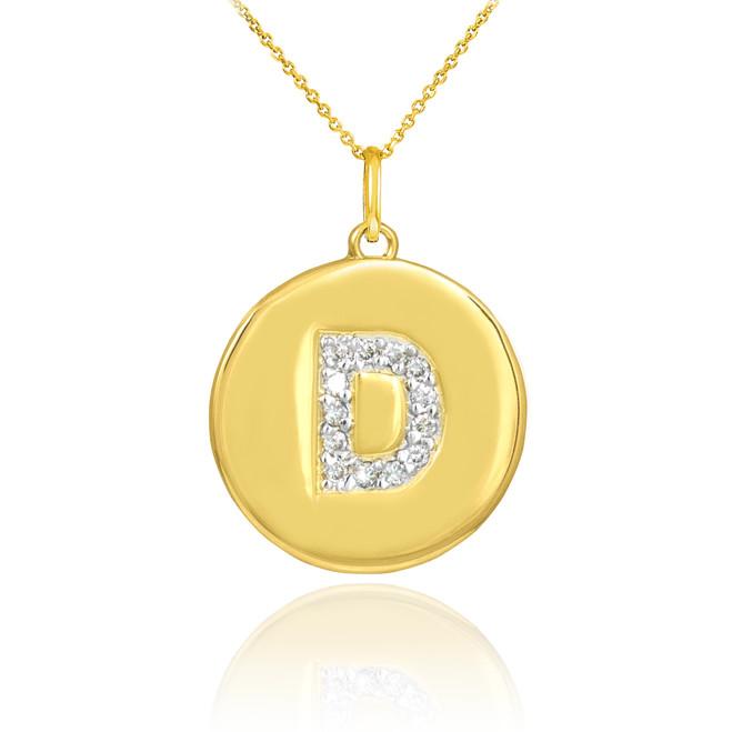 """Gold Letter """"D"""" Initial Diamond Disc Pendant Necklace"""