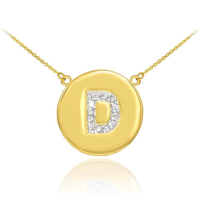 "14k Gold Letter ""D"" Initial Diamond Disc Necklace"