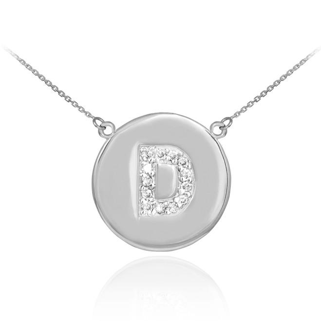 "14k White Gold Letter ""D"" Initial Diamond Disc Necklace"
